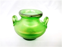 Loetz Two Handle Green Glass Squat Vase Original Paper Label