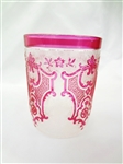 Val St. Lambert Ruby Red Etched Cut to Clear Cup