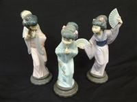 (3) Lladro Japanese Figures: Timid, Sayonara, With Fan