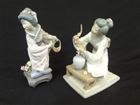 (2) Lladro Japanese Girls: Michiko and Girl with Flower