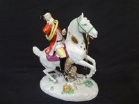 Mesisen Figurine Man on Horse with Instrument French Horn