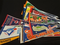 (42) Signed and Unsigned Sports Teams Pennants: Lofton, Terrell Davis, Others