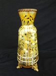 "Loetz RARE Circa 1900 Japonism Style Vase With Filigree Ormolu Mount Feet and ""M"" Crimped Rim"