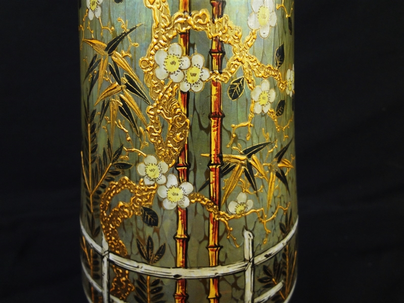 Loetz RARE Circa 1900 Japonism Style Vase With Filigree Ormolu Mount Feet and M Crimped Rim