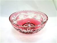 Crystal Ruby Cut to Clear Bowl Bleikfistall MI GDA