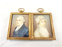 Pair of Miniature Portrait Paintings Attributed to Peter Cross