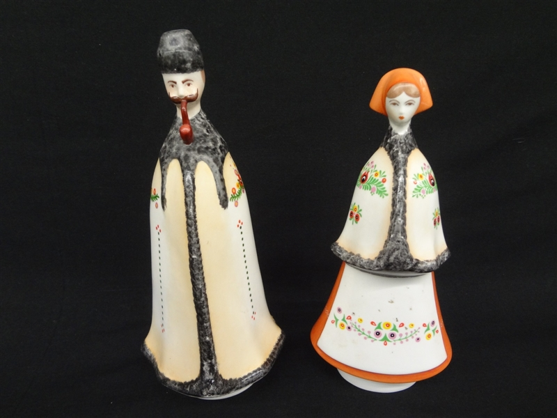 Pair of Hungarian Porcelain Figurines. Man and Woman