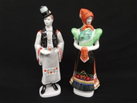 Pair of Hollohaza Man and Woman Figurines