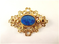 14k yellow Gold Victorian Brooch Set with Single Lapis Lazuli Cabochon