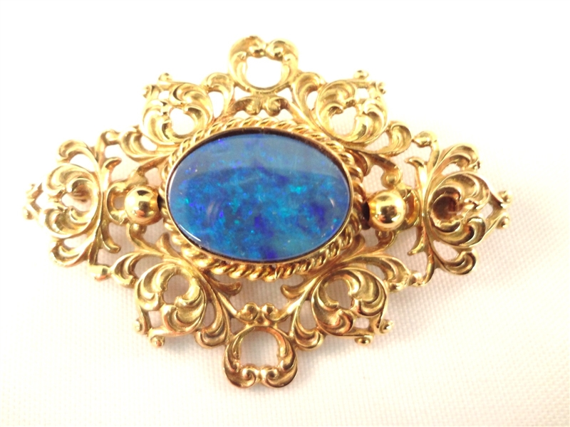 14k yellow Gold Victorian Brooch Set with Single Opal Cabochon