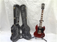 Epiphone Electric Guitar G-400 Dark Red With Hard Case