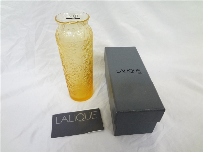 Lalique Bougenville Amber Vase New in Box