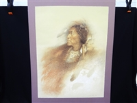 Native American Indian Chief Signed Lithograph by Berk 38/250