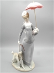 "Lladro ""Woman With Dog and Umbrella"" Without Box"