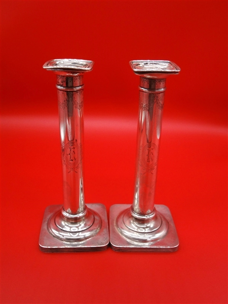William B. Durgin Co. Sterling Silver Candle Sticks A. Stowell