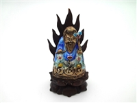 Cloisonne Gold Filled Happy Buddha Small Figurine Set on Teak Carved Base