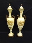 Pair French Paris Brass Ormolu Mounted Urns