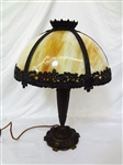 Six Panel Slag Glass Lamp Shade Attributed to Miller Metal Base