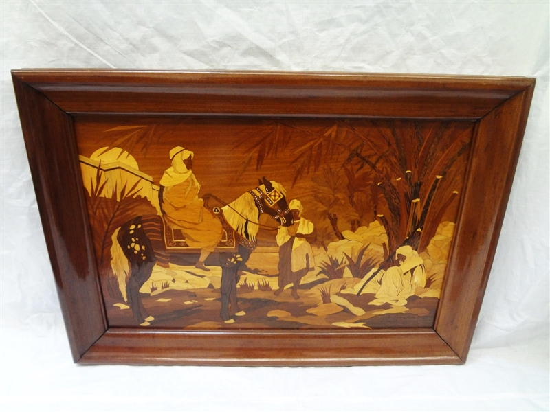 Marquetry Inlay Framed Art Work Persian/Egyptian Scene