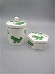 "Wedgwood ""Chinese Tigers"" Lidded Tea Caddie & Small Trinket Tray"