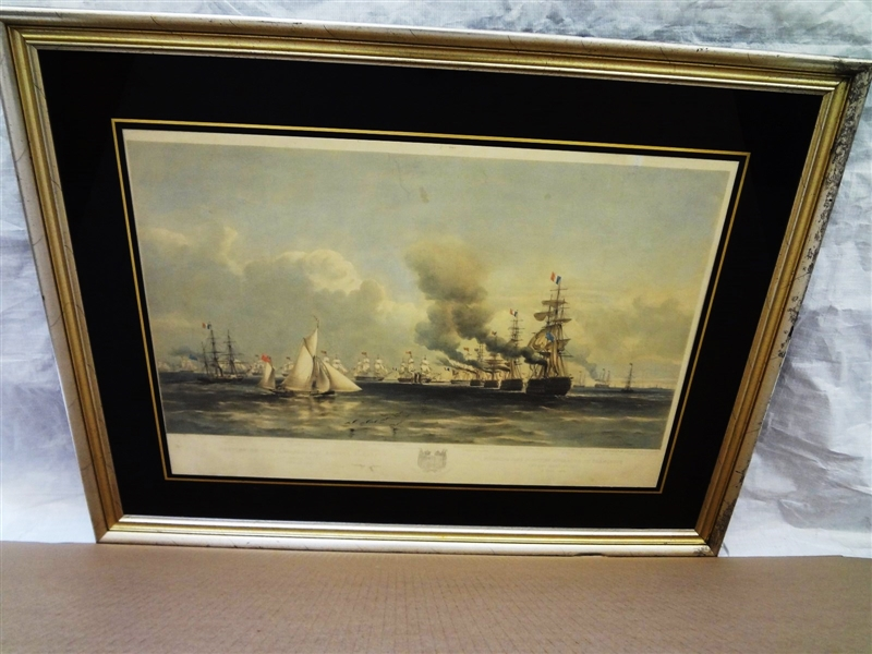 Hand Colored Engraving Meeting of the English and French Fleet 1854 Day & Son Lith