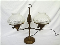 Double Student Lamp Electrified Clear Hobnail Shades