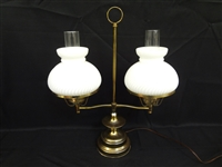 Double Student Lamp Electrified Milk Glass Swirl Shades