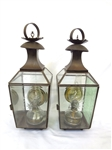 Pair of Hanging Wall Lights with Removable Oil Lanterns Brass Lale Heat Reflectors