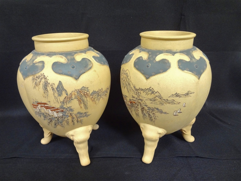Pair Yixing Duanni Vases on Raised Elephant Head Feet with Caligraphy