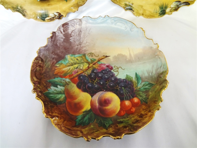 (3) Charles Thuillier Limoges Fruit Hand Painted Charger Plaques
