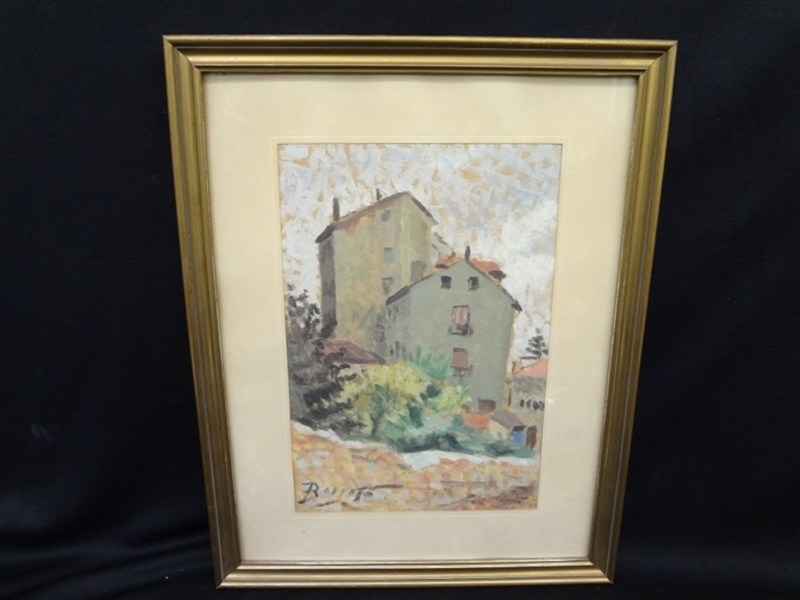 Oil Painting Signed Barroso Matted and Framed