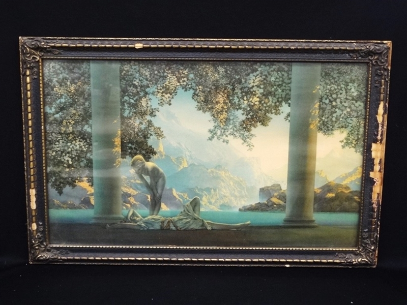 Maxfield Parrish Daybreak Lithograph in Art Deco Frame