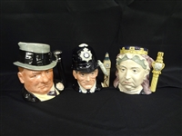(3) Royal Doulton Large Character Mugs:The London Bobby, W.C. Fields, Queen Victoria