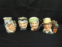 (4) Royal Doulton Large Character Mugs: Granny, Gardener, Cook and Cheshire Cat, Sairey Gamp