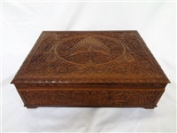 Hand Carved Wooden Chest Box With Shelf Eagle Detail