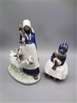 (2) Royal Copenhagen Figurines: Woman with Goats, Darning Socks
