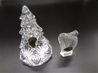 (2) Waterford Crystal Harp Ornament and Tree Paperweight Original Boxes