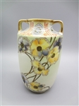 Nippon Hand Painted Floral Double Handle Vase