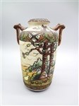 Nippon Hand Painted Raised Relief Double Handle Vase
