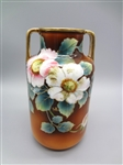 Nippon Hand Painted Floral Brown Double Handle Vase