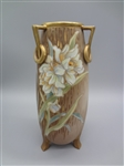 Nippon Three Handled Hand Painted Floral Vase