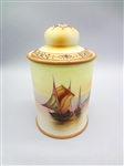 Nippon Hand Painted Boat Scene Lidded Tea Caddy