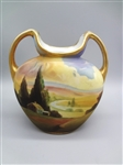 Nippon Two Handle Hand Painted Bulbous Vase