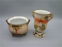Nippon Hand Painted Vase and Squat Pot