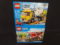 (2) LEGO Unopened Sets: 60107 Fire Ladder Truck, 60018 Cement Mixer