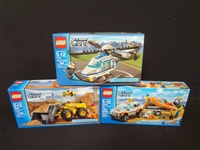 (3) LEGO Unopened Sets: 7741 Police Helicopter, 60012 4x4 and Diving Boat, 7630 Front End Loader
