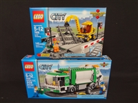 (2) LEGO Unopened Sets: 4432 Garbage Truck, 7936 Level Crossing (bent box)