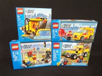 (4) LEGO Unopened Sets: 7242 Street Sweeper, 8401 Minifig Collection, 7731 Mail Van, 4200 Mining 4x4
