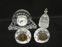 (4) Waterford Crystal Pieces: Clock, Capitol, Society of Waterford