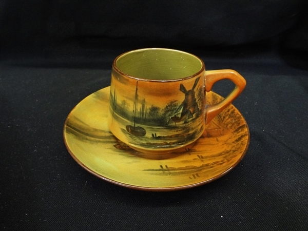 Buffalo Pottery Abino Ware Cup and Saucer Signed C. Harris